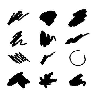 Éléments de trait de pinceau pour l'ensemble de conceptions