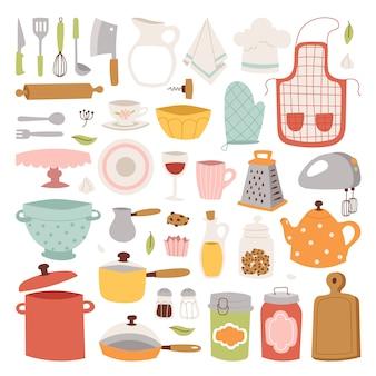 Éléments d'ustensiles de cuisine.