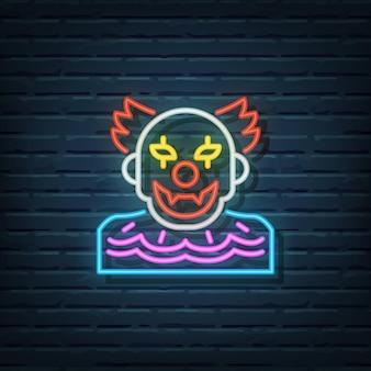 Éléments de vecteur d'enseigne au néon de clown d'halloween
