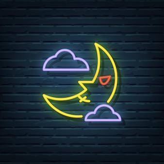 Éléments de vecteur d'enseigne au néon halloween moon