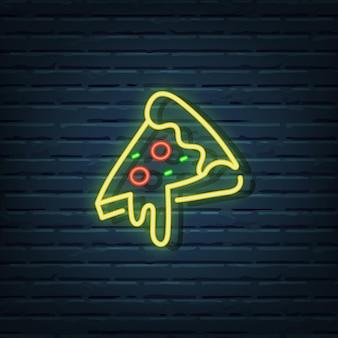 Éléments de vecteur d'enseigne au néon de pizza