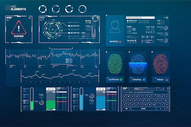 Éléments de vecteur hud pour une interface utilisateur futuriste
