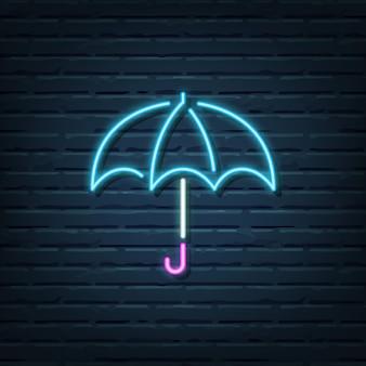 Éléments de vecteur de signe au néon parapluie
