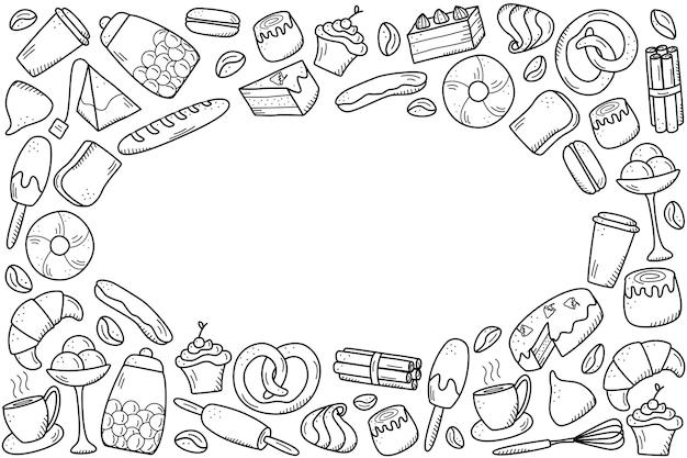 Éléments vectoriels de collations sucrées et pâtisseries, plats de café. excellent pour décorer les cafés et les menus. style d'icône de griffonnage.