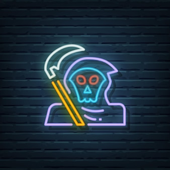 Éléments vectoriels d'enseigne au néon de grim reaper