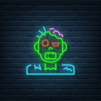 Éléments vectoriels d'enseigne au néon zombie