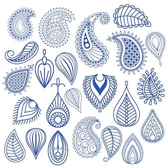 Éléments vectoriels de feuille orientale doodle