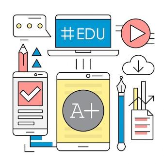 Éléments vectoriels linéaires d'éducation en ligne
