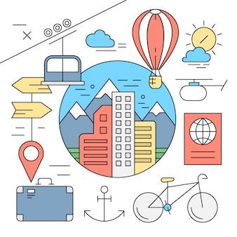 Éléments vectoriels linéaires de voyage et d'aventure