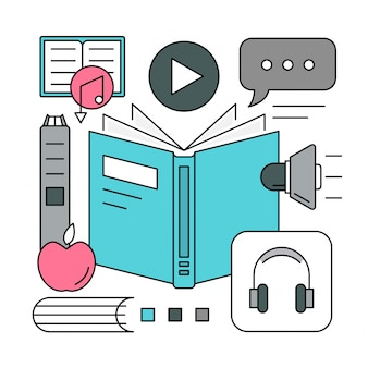Éléments vectoriels de livres audio linéaires