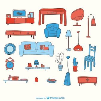 Éléments vectoriels de meubles gratuit