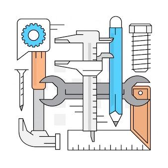 Éléments vectoriels d'outils linéaires