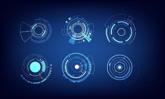 Éléments vectoriels set design cercle de technologie