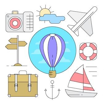 Éléments vectoriels de voyage d'été de style linéaire