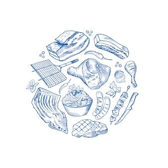 Éléments de viande monochromes dessinés à la main dans pour du cercle