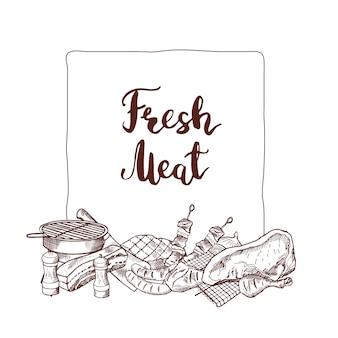 Éléments de viande monochromes dessinés à la main se sont réunis sous le cadre avec la place pour le texte