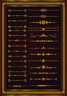 Éléments de vignette décoratifs frontières mis en or