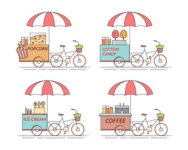 Éléments de la ville de café, maïs soufflé, crème glacée, bicyclettes de barbe à papa.