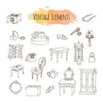 Éléments vintage dessinés à la main.