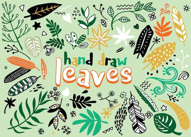 Éléments vintage esquissés à la main (lauriers, feuilles, fleurs, volutes et plumes). sauvage et libre.