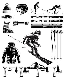 Éléments vintage de ski nordique