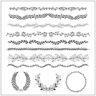 Éléments vintage vectoriels esquissés à la main: couronne, feuilles, cadre.