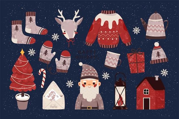 Éléments de voeux de noël festifs pour cartes, invitations et bannières. joyeux noël et bonne année affiche, ensemble d'autocollants ou modèle de bannière