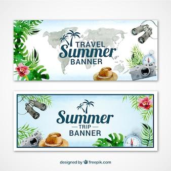 Éléments de voyage d'aquarelle dans les bannières d'été