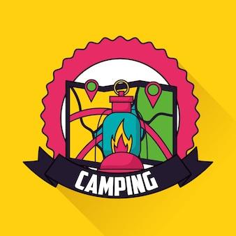 Éléments de voyage de camping dans le style plat