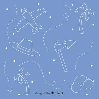 Éléments de voyage doodle fond
