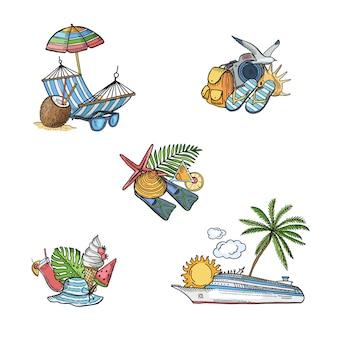 Éléments de voyage d'été dessinés à la main
