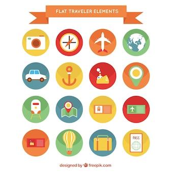 Éléments de voyageurs colorés icons pack