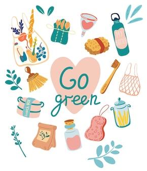 Éléments zéro déchet. passez au concept vert. pas de plastique. vecteur de mode de vie écologique