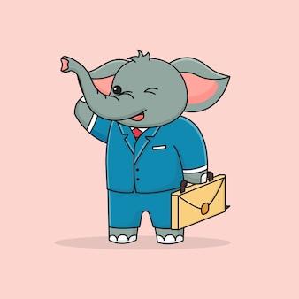 Éléphant d'affaires mignon tenant la valise