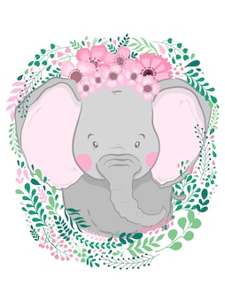 Éléphant animal dessiné main mignon
