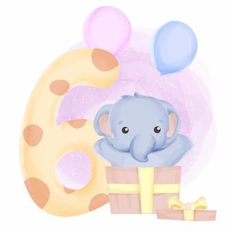 Éléphant anniversaire sixième bébé animal mignon pour les enfants