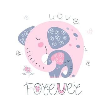 Éléphant avec un bébé éléphant dans un style mignon. amour pour toujours.