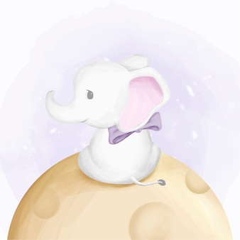 Éléphant bébé mignon mouche sur la lune