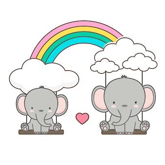 Éléphant et bébé se balancent sur un arc-en-ciel. illustration vectorielle de carte de fête des mères