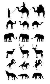 Éléphant de cheval de chameau cerf noir isolé