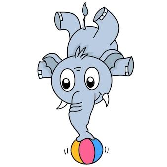Un éléphant de cirque se tient avec sa trompe sur une boule, dessin de griffonnage mignon de caractère. illustration vectorielle