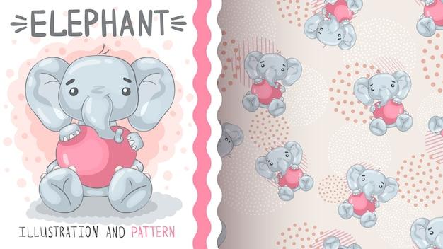 Éléphant avec coeur - modèle sans couture