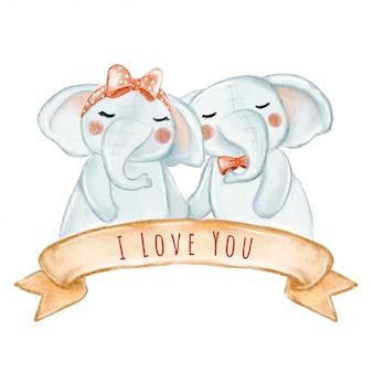 Éléphant couple amoureux illustration aquarelle valentine