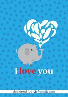 Éléphant dans la conception amour de vecteur