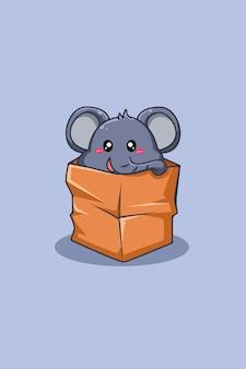 Éléphant dans l'illustration de dessin animé animal de poche