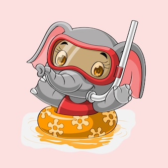 Éléphant de dessin animé avec anneau gonflable dessiné à la main
