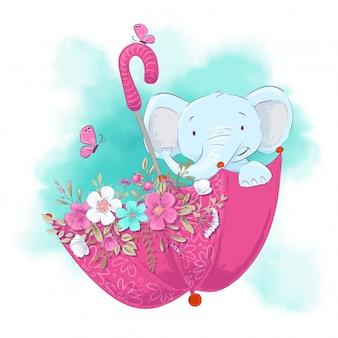 Éléphant de dessin animé mignon dans un parapluie avec des fleurs.