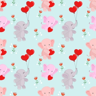 Éléphant de dessin animé mignon avec motif ballon forme coeur.
