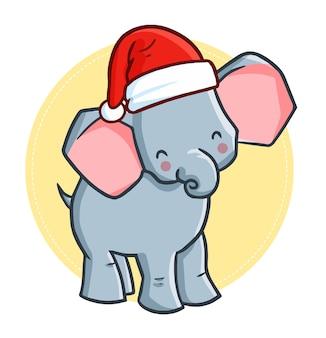 Éléphant de dessin animé de noël