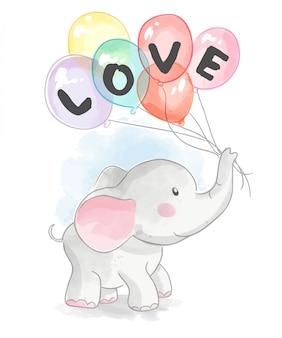 Éléphant de dessin animé tenant des ballons d'amour